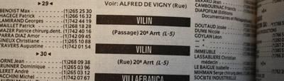 Annuaire officiel des abonnés au téléphone, rue Vilin, Paris
