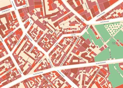 Plan de la rue Vilin en 1945. Dessiné par mes soins d'après le plan parcellaire de Paris, 1945.