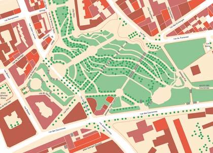 Plan de la rue Vilin en 2009. Dessiné par mes soins d'après le Plan parcellaire de Paris, 2009.