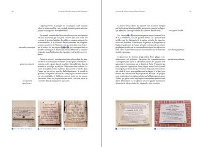 Double page. Étude de plaques commémoratives.